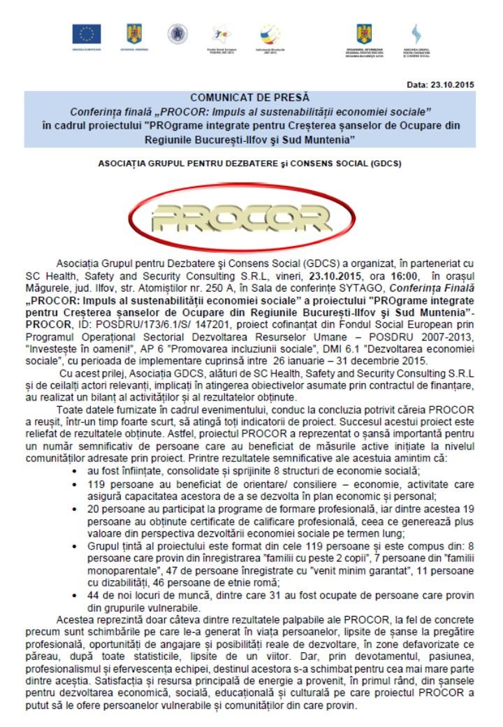 Comunicat conferinta finala 2 PROCOR